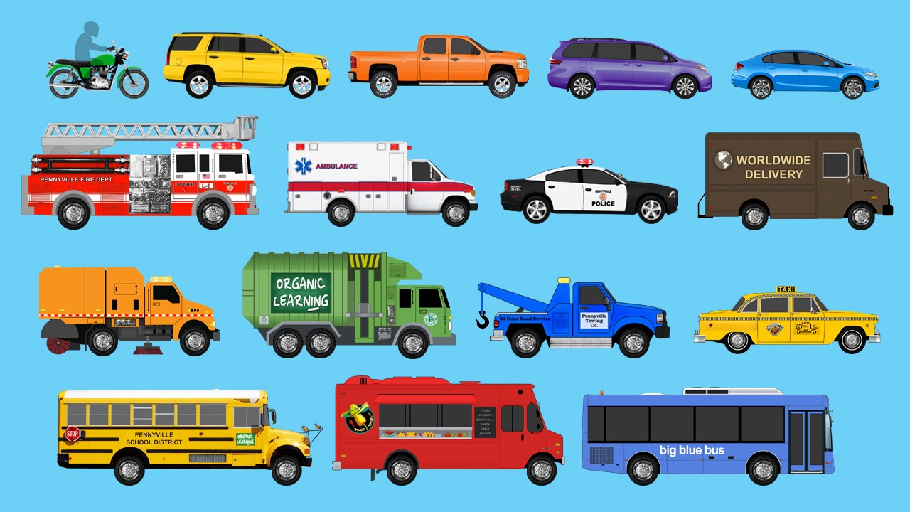 Various types of vehicles